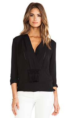Thakoon Addition Shawl Collar Tunic Blouse in Black