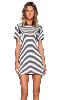 Theory Cherry Classic Stripe Tee Dress in Ivory & Light Navy