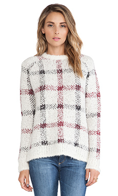Theory Innis Sweater in Ivory Plaid