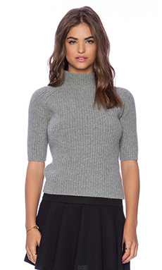 Theory Jodi Short Sleeve Sweater in Light Grey