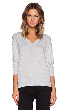 Theory Trulinda Eternal Sweater in Light Grey & White