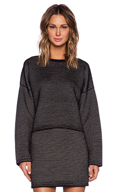 Theory Tamrist Prosecco Sweater in Black & Ivory