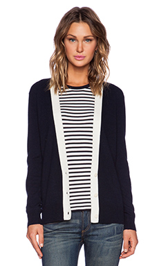 Theory Yeryina Cashmere Cardigan in Navy & Ivory