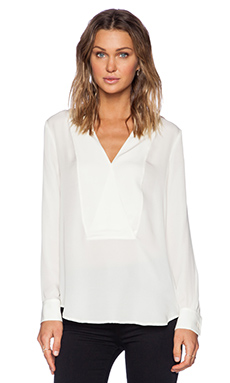 Theory Corbette Silk Blouse in Ivory