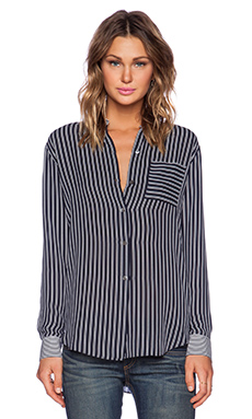 Theory Ziria Main Stripe Blouse in Light Navy & Ivory