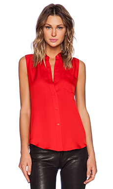 Theory Yarine Modern Blouse in Scarlet