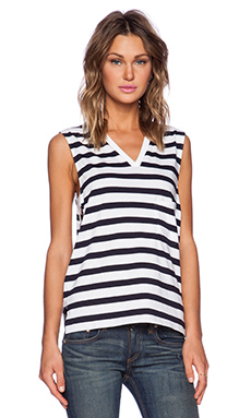 Theory Crelle Striped Tank in Navy & White