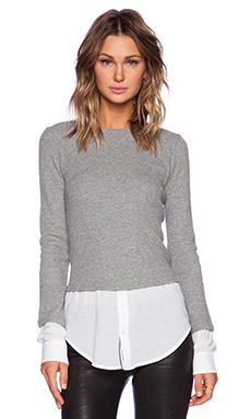 Theory Mikaela Long Sleeve Top in Heather Grey