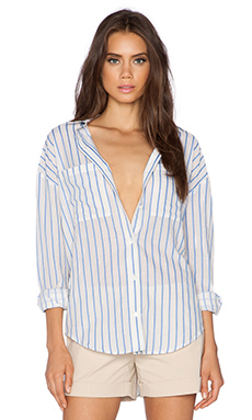 Theory Imani Button Up in Natural & Blue