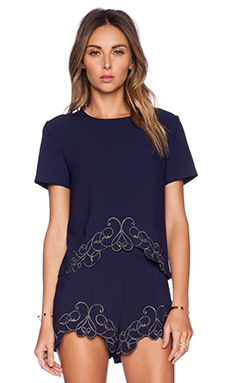 Three of Something Trellis Petal Crop Top in Navy & Gun