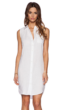 three dots Button Up Dress in White