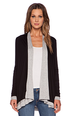 three dots Reversible Cardigan in Black & Graphite