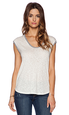 three dots Muscle Tee in White & Heather