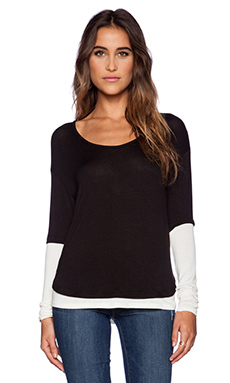 three dots Long Sleeve Tee in Black & Gardenia