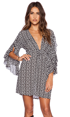 Tiare Hawaii Lily Longsleeve Mini Dress in Black & White Interlock