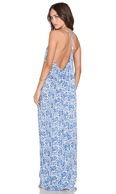 Tiare Hawaii Kalapana Maxi Dress in Cream & Blue Batik