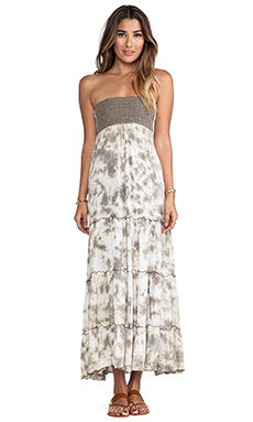 Tiare Hawaii Long Crochet Tube Dress in White Stone