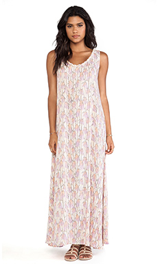 Tiare Hawaii Banyan Scoop Back Braided Neckline Maxi Dress in Feather Print