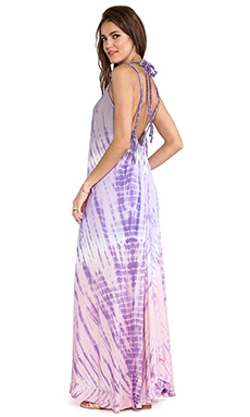 Tiare Hawaii Coco Low Scoop Back Maxi Dress in Grey & Violet & Pink Vibe