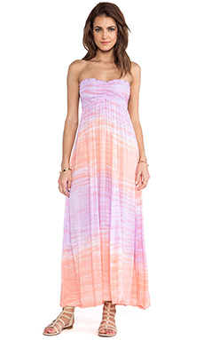 Tiare Hawaii Seaside Strapless Maxi Dress in Violet & Peach Deep Sea