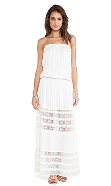 Tiare Hawaii Sienna Strapless Lace Panel Maxi Dress in Cream
