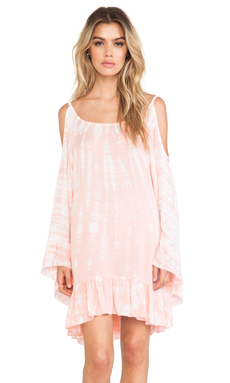 Tiare Hawaii Hana Ruffle Trim Dress in Pink Cream Tie Dye