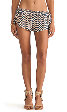 Tiare Hawaii Side Tie Byron Bay Short in Cream Navy Waves