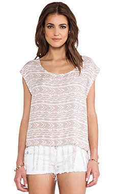 Tiare Hawaii Fringes Top in Tan Totem Print