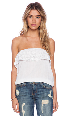 Tiare Hawaii Kahala Strapless Banded Bottom Crinkle Top in White