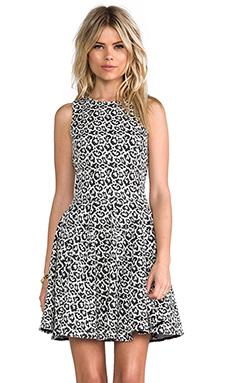 Tibi Leopard Knit Dress in Black & White Multi