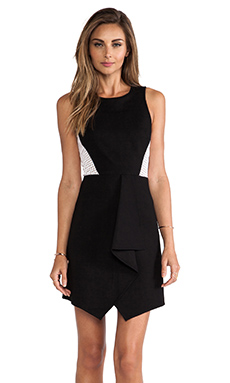 Tibi Ponte Eyelet Combo Dress in Black & White