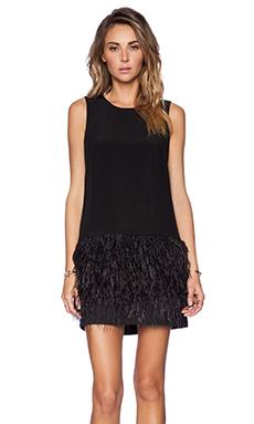Tibi Cera Feather Dress in Black