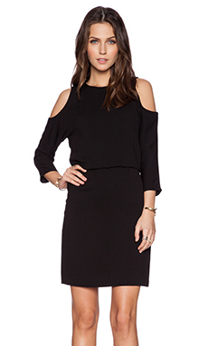 Tibi Savanna Cut Out Shoulder Dress in Black