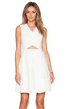 Tibi Riko Eyelet Origami Dress in White