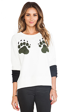 Tibi Paw Sweatshirt in Ivory Multi