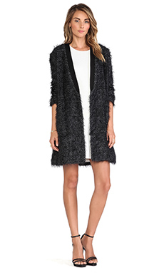 Tibi Long Cardigan Coat in Black Multi