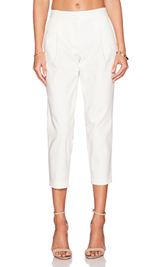 Tibi City Stretch Pleated Cropped Pant in Ivory