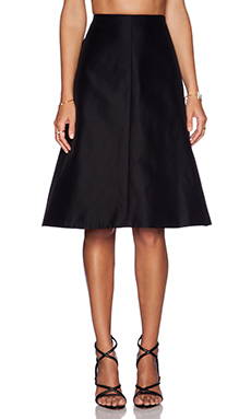 Tibi Techno Faille A-Line Skirt in Black