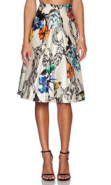 Tibi Tattoo Print Pleated Skirt in Cream Multi