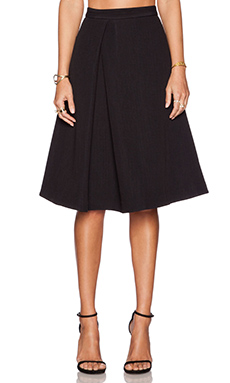 Tibi Mika Pleat Skirt in Black
