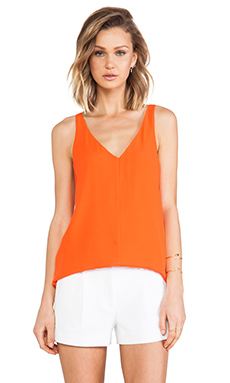 Tibi Dry Crepe Tank in Cayenne