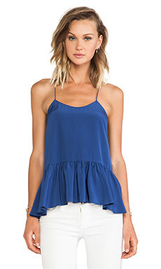 Tibi Silk Strappy Ruffle Cami Tank in Baltic Blue