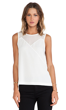 Tibi Savanna Crepe Tank in Ivory