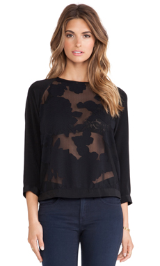 Tibi Floral Burnout Blouse in Black