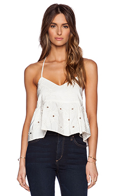 Tibi Faille Brodee Strappy Ruffle Cami in Ivory