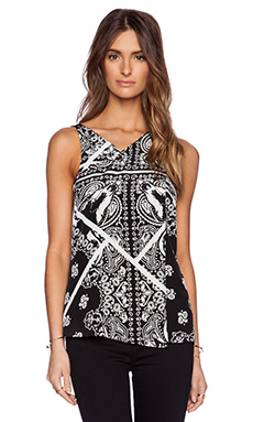 Tibi Patchwork Bandana Tank in Black Multi