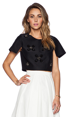 Tibi Cluster Beading Top in Black Multi