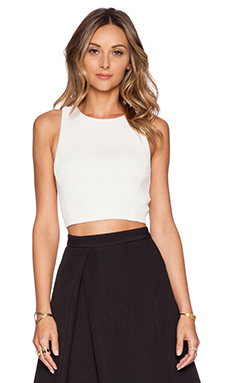 Tibi Mika Quilted Cropped Top in Ivory