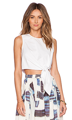 Tibi Cropped Tie Top in White