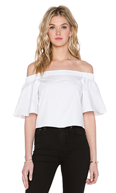Tibi Off Shoulder Short Sleeve Top in White